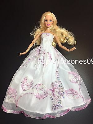 Barbie Doll Wedding Party Evening Dancing Dress/Clothes/Outfit Embroidered New