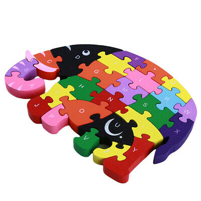 Kids Wooden Elephant Puzzle Toys Early Education Inspire Baby Imagination Toy NB