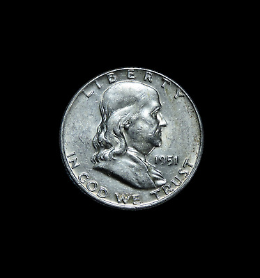 1951-D Franklin Half Dollar AU Almost Uncirculated Condition 50c Full Bell Lines