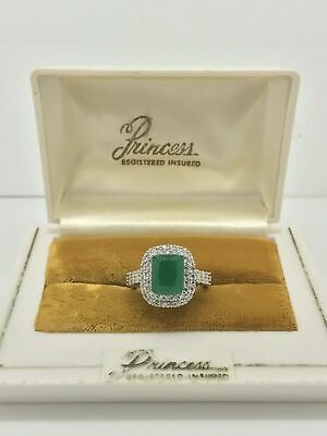 Magnificent 2.24 Ct Natural Princess Colombian Emerald Ring Halo Engagement 925S