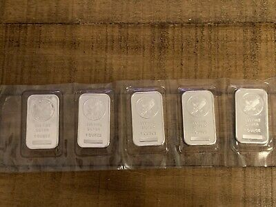 Lot of 5 Sunshine Minting, Inc. 1 Troy oz. .999 Fine Silver Bar SKU33421