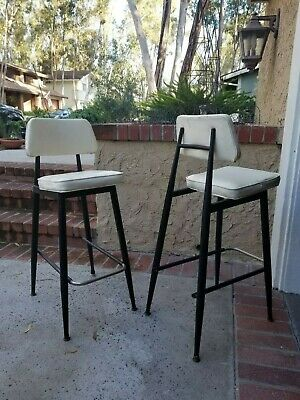 "Mid Century Atomic Metal & Vinyl 28"" Bar-height Stools Retro Post Modern 60s 70s"