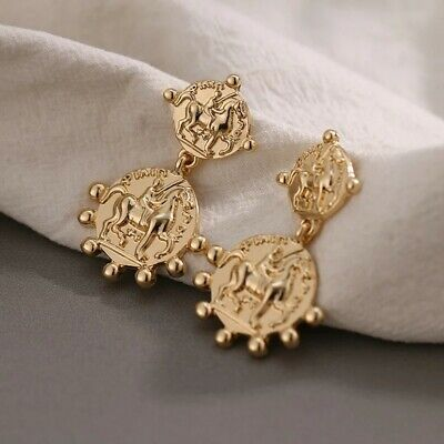 Boho Gold Dangle round Roman horse coin cocktail fashion statement stud earrings