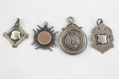 4 x Vintage .925 STERLING SILVER Fobs Medallions Inc. Rolled Gold, Sport Etc 30g