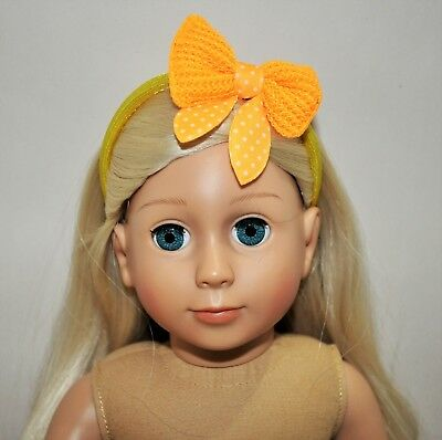 American Girl Doll Our Generation Journey 18 Dolls Clothes Yellow Bow Headband