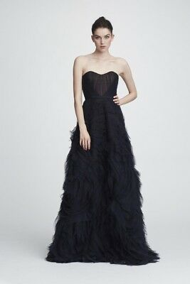 ad44890a MARCHESA NOTTE TEXTURED Tulle Gown with Corset Bodice & Velvet Trim ...