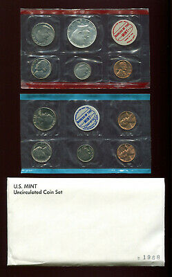 1968 US Mint UC Coin Set 10 Coins / 5D + 3P + 2S  In Original Sealed Cello Packs