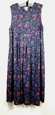 Laura Ashley Overall Dress Womens Size 12 Sleeveless Blue Floral Pleated
