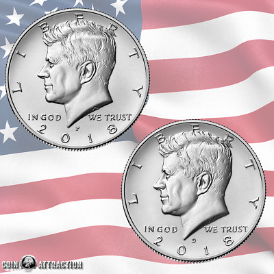 2018 P & D Kennedy Half Dollar Set 2 Coin Set From Mint Roll (Uncirculated)