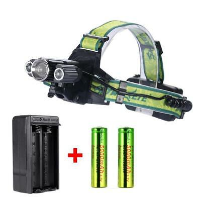 Zoomable  3X T6 LED USB Headlamp 35000LM Light Bike Torch +18650 +Charger JS