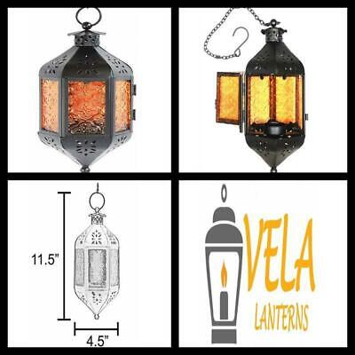 Moroccan Candle Lantern with Chain Amber Glass Hanging Lamp Patio Decor Gift