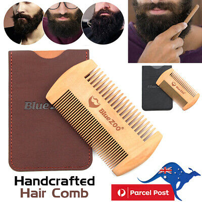 Mens Handcrafted Pearwood Shaper Wooden Brush Comb Beard Mustache Hair Comb Tool