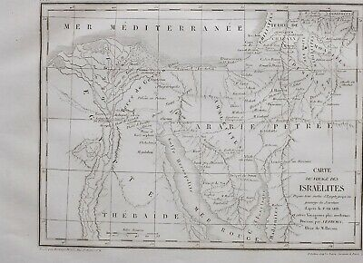 1861 Antique Map Travel Of Israelites Arabia Nile Delta Chanan Egypt Thebaide