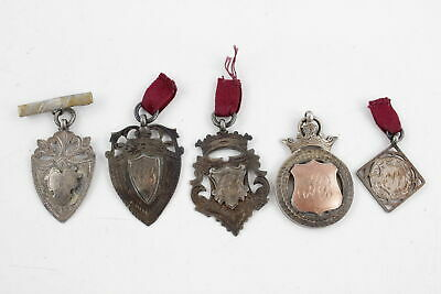 5 x Vintage .925 STERLING SILVER Fobs Medallions Inc. Engraved Etc (42g)