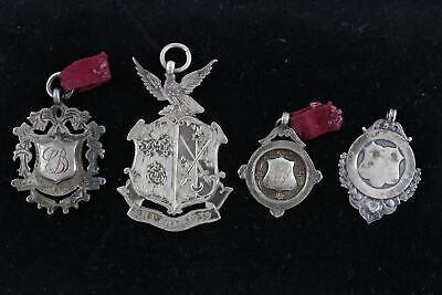 4 x Vintage .925 STERLING SILVER Fobs Medallions Inc. Engraved (36g)