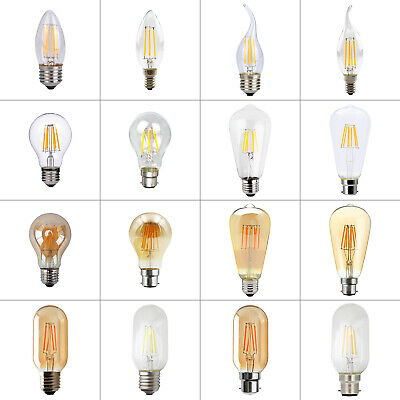 4/8xLED B22 E14 E27 Edison Filament Bulb Light Retro Vintage Globe Lamp 2/4/6/8W