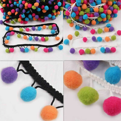 18mm Ball Tassel Pom Pom Trim Bobble Braid Fringe Craft Lace DIY Hat Bag Decor