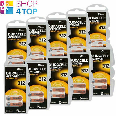 60 Duracell Activair 312 Hearing Aid Batteries Zinc Air 1.45V Mercury Free New