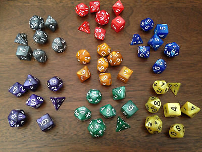 Pearl  Multi Sided Dice Set D4-D20 TRPG Game Polyhedral Roleplay ~1