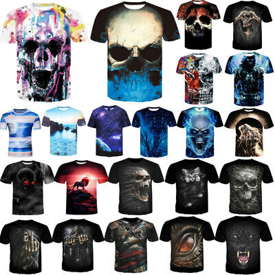 Fashion Men Funny Skull 3D Print T-Shirt Casual Crew Neck Short Sleeve Tops Tee