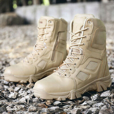 Army Tactical Mens Comfort Leather Combat Military Ankle Boots Work Desert Shoes