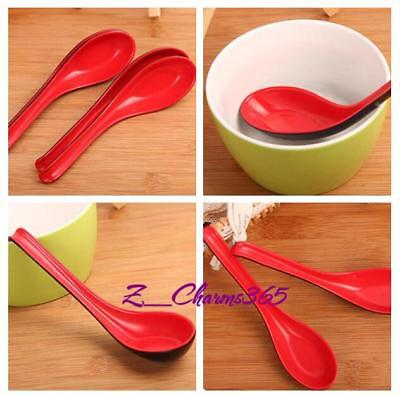 2 Pieces Kitchen Red + Black Plastic Spare Part Soup Food Rice Spoon RU