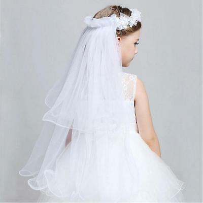 Holy Communion Flower Girl Crown Cross Veil Bridal Tiara Wedding Hairband RU