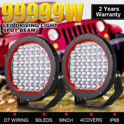 Pair 9inch 99999W CREE Round LED Driving Lights SPOT Work Headlights Offroad ATV