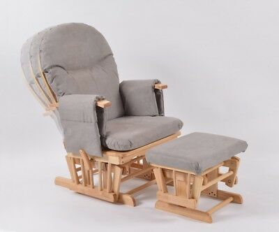 Habebe Recliner Rocking Glider Chair & Stool WASHABLE COVERS & BRAKE SYSTEM