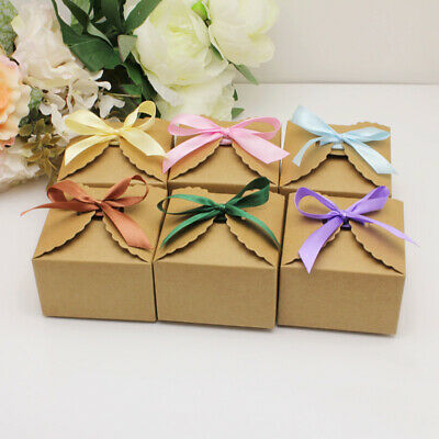 50x Wedding Candy Box Gift Boxes Paper Kraft Pillow Shape Bag Event Party Favor