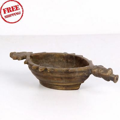 1900'S Old Indian Antique Hand Carving Brass Afim Opium Water Kharal Bowl 1802