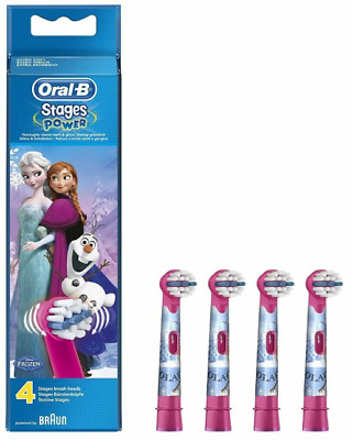 Braun Oral B Kids Power Stages 4 Refill Heads Disney Frozen NEW GENUINE SEALED