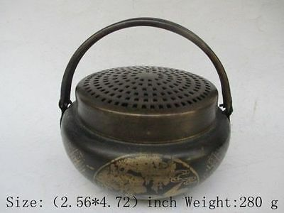 The ancient Chinese old copper pot old cranes fire pot does not a warm hand
