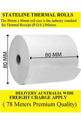 50. 80mm x 80mm x12mm Quality Thermal Paper Rolls ( 78 Meter LENGHT )