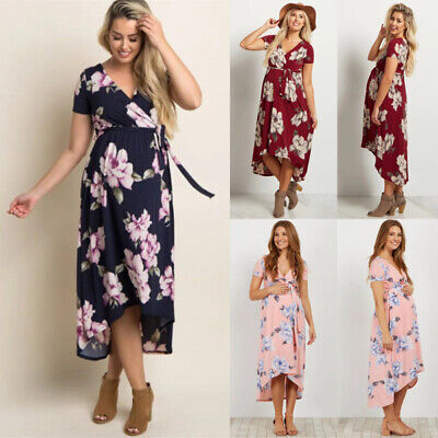 Pregnancy Maternity Floral Short Sleeve Wrap Summer Casual Long Dress Size 6-16