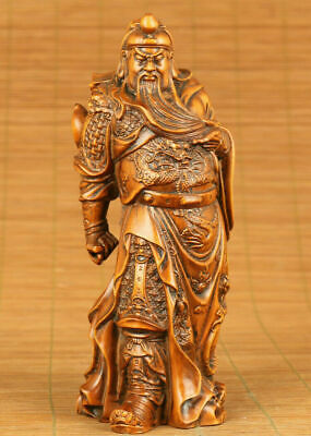 chinese old boxwood hand carved guangong statue figure