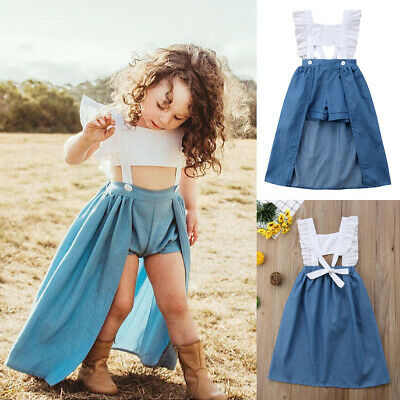e9047eb10cb2 Baby Toddler Kids Girls Ruffle Denim Romper Bodysuit Jumpsuit Outfits  Clothes x3