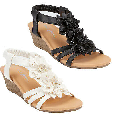 Ladies New Wedge Floral Sandals Fancy Dress Party Summer Holiday Beach Shoes 3-8