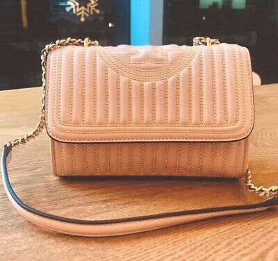 87a3feb39767 NWT Tory Burch Fleming Mini Stud Small Convertible Should Bag In Shell Pink