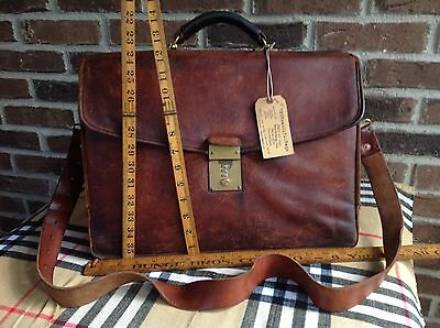 VINTAGE 1980's COGNAC DISTRESSED LEATHER COMBINATION LAPTOP BRIEFCASE BAG R$898