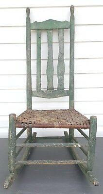 Antique Primitive Vermont Farmhouse Sewing Nursing Rocking Chair Slat Back