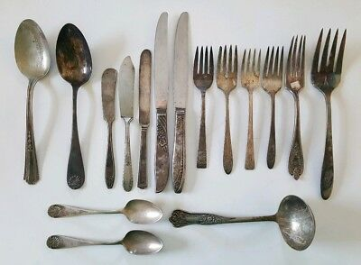 Mixed Lot Of Antique Victorian Silverplate Forks Knives Spoons Repurpose Crafts