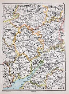 1894 Map Central England & Wales Hereford Shropshire Monmouth Worcester