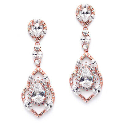 ad9708dfc3bf MARIELL MICRO-PAVE ROSE Gold CZ Dangle Chandelier Wedding Earrings ...