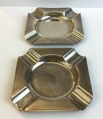 Vintage Mappin & Webb 1936 Solid Silver Pair Of Ash Trays 8cm X 8cm