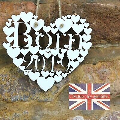 Born 2019 White Love hanging heart decoration New Baby gift sign art