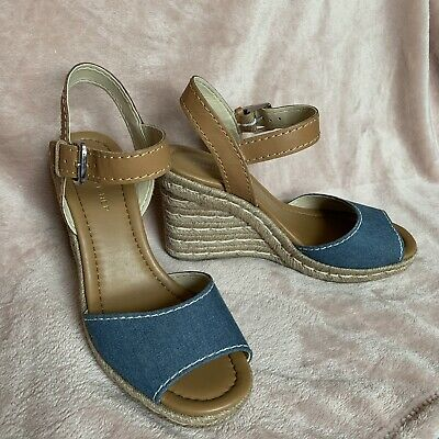 0220eb532c3 Marc Fisher Natural Leather   Denim Maiseey Espadrille Wedge Sandal NEW 7.5  Tan