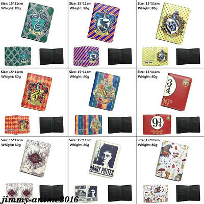 Harry Potter Hogwarts PU Passport Cover Bifold Travel Case Credit Holder Purse