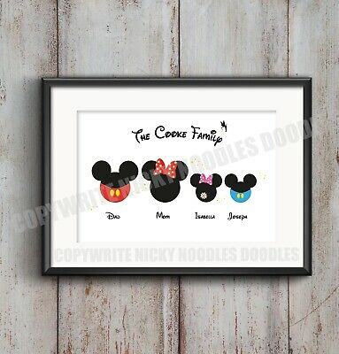 Disney Family - Minnie Mouse - Mickey Mouse - family A4 print - Personalised