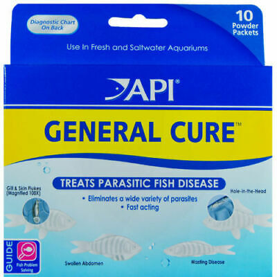 Api General Cure 10 Powder Packet Aquatic Treats Fish Disease. Free Ship In Usa